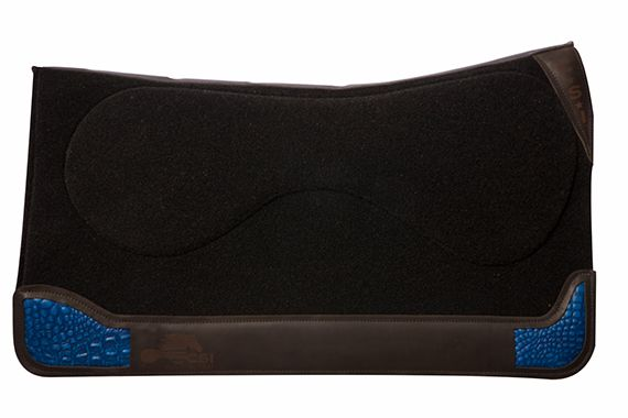 32 in saddle pad black with blue gator inlay