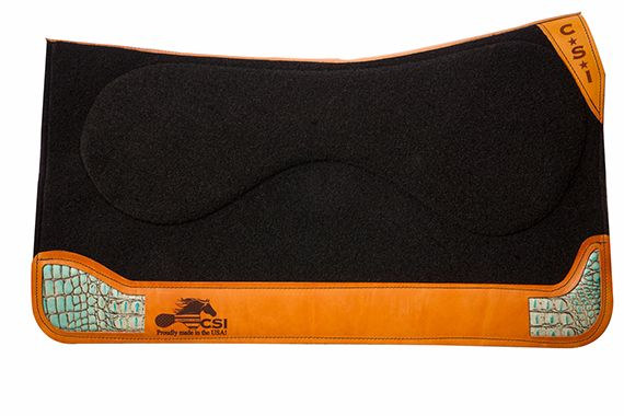 32 in saddle pad black herman oak turqoise gator inlay